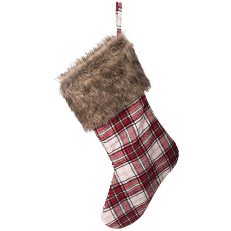 Plaid Stocking With Fur Trim-Seasonal-A Cottage in the City
