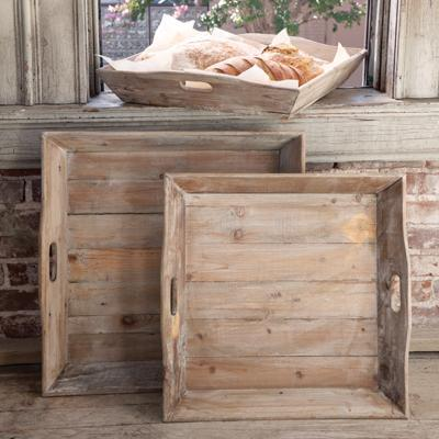 Reclaimed Wood Square Trays-Tabletop-Large-A Cottage in the City