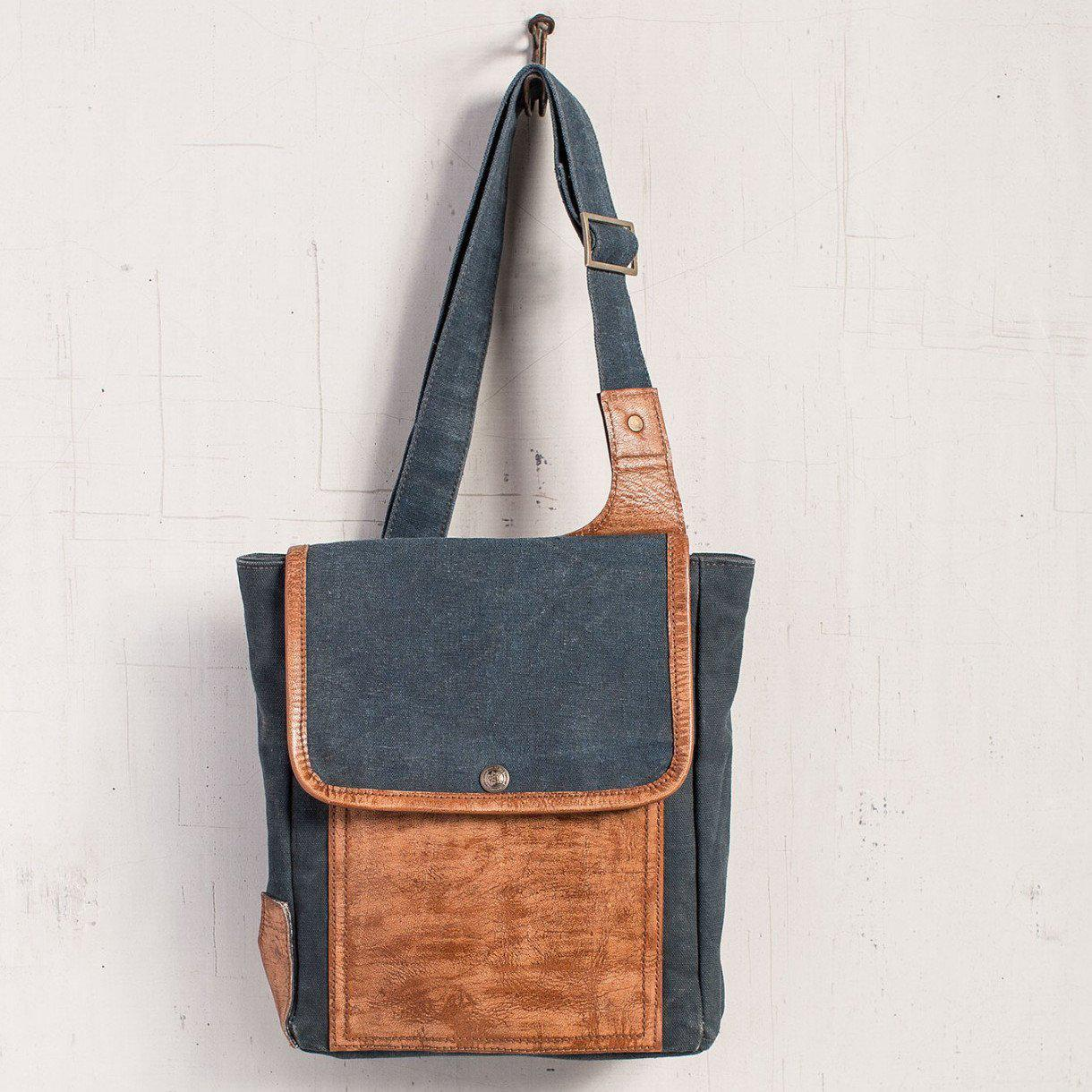Recycled Canvas & Leather Tech Bag-Gifts-A Cottage in the City