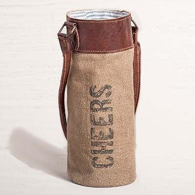 Recycled Tarp & Leather Cheers Wine Bag