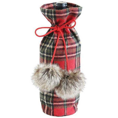 Red Plaid Wine Bag With Faux Fur