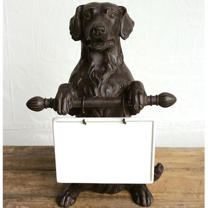 Resin Dog Statue With Ceramic Message Board-Decor-Creative-A Cottage in the City