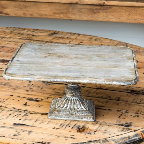 "Rustic Metal & Wood Square Pedestal-Decor-14""-A Cottage in the City"