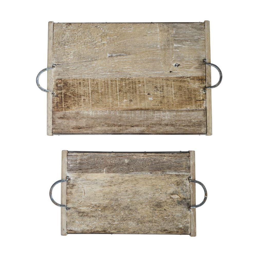 Rustic Reclaimed Wood Tray With Metal Handles-Tabletop-A Cottage in the City
