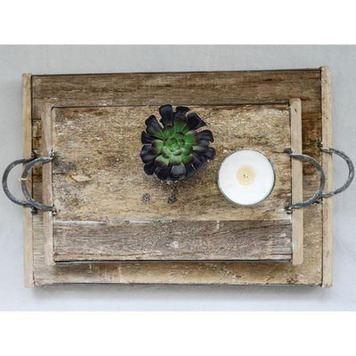 Rustic Reclaimed Wood Tray With Metal Handles