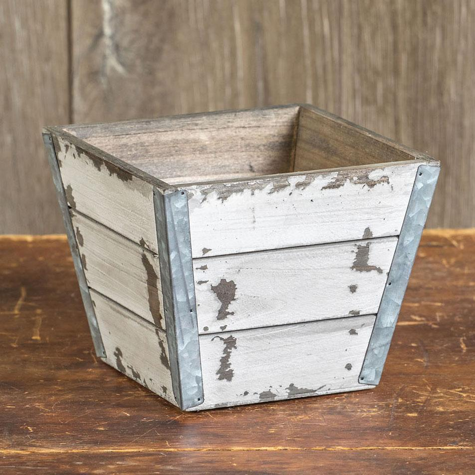 Rustic White Shiplap Planter-Storage-A Cottage in the City