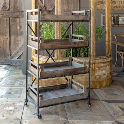 Rustic Wood Greenhouse Cart