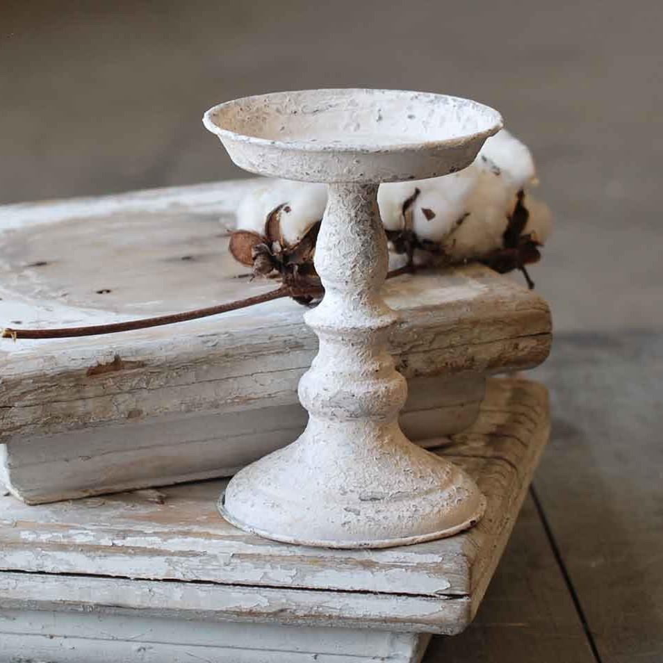 Rusty Cream Metal Candle Holder