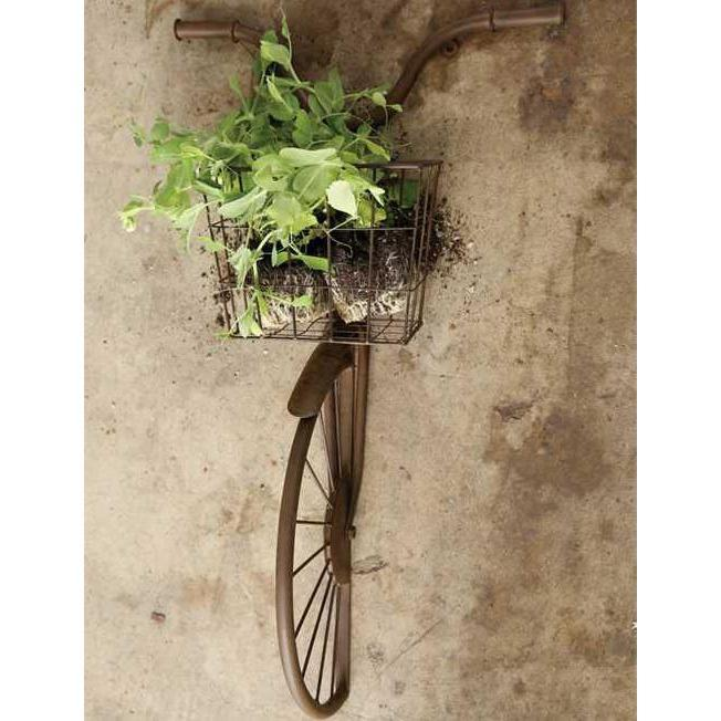 Rusty Iron Bicycle Wall Basket-Decor-A Cottage in the City