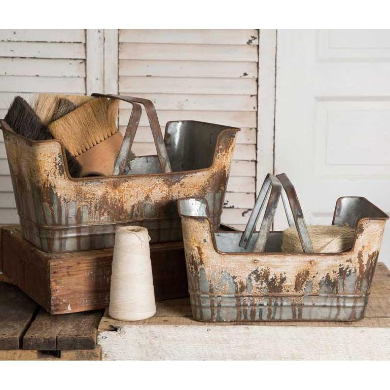 Rusty Metal Farmers Basket-Storage-Small-A Cottage in the City