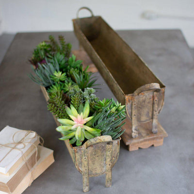 Rusty Metal Oblong Planter