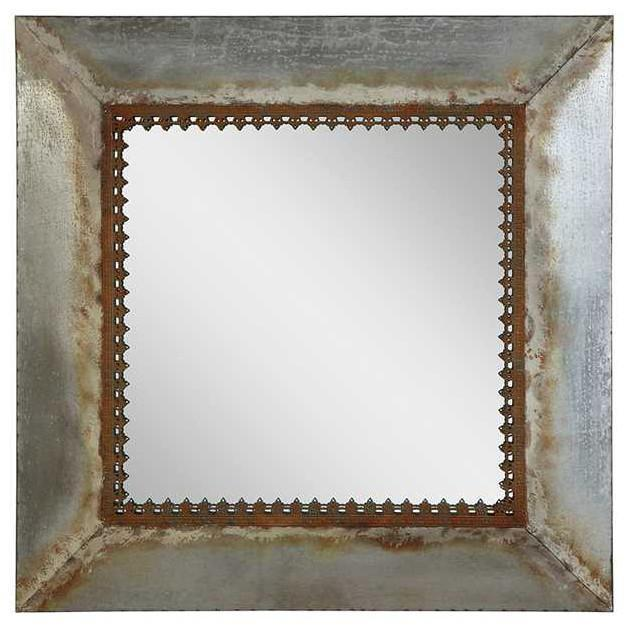 Rusty Metal Square Framed Mirror-Decor-A Cottage in the City