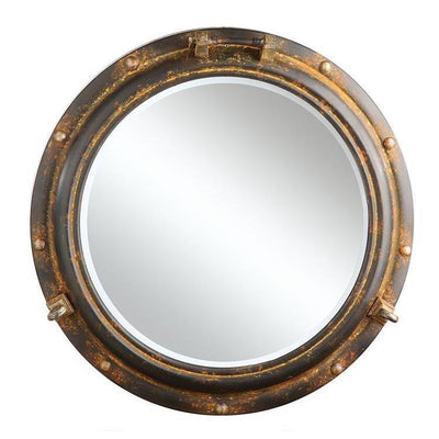 Rusty Porthole Wall Mirror