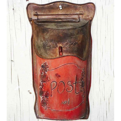 Rusty Red Narrow Post Mail Box