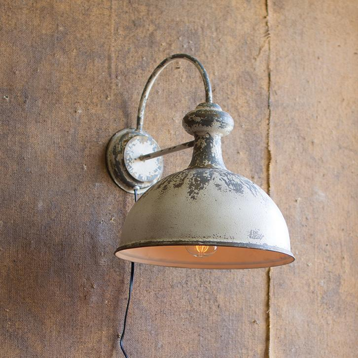 Rusty White Wall Lamp-Furniture-A Cottage in the City