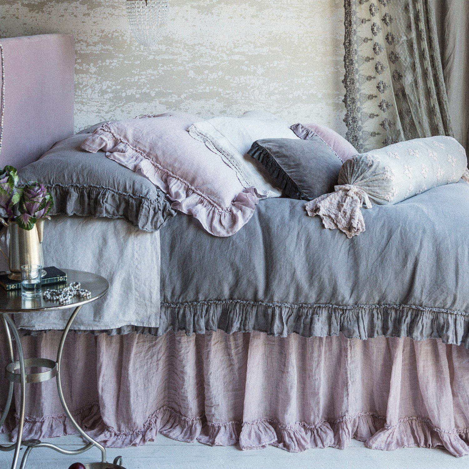 SALE! Bella Notte Linens Linen Whisper Pebble Queen Dust Ruffle-Sale-A Cottage in the City