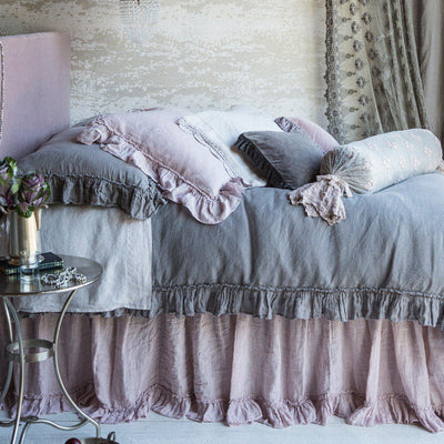 SALE! Bella Notte Linens Linen Whisper Pebble Queen Dust Ruffle