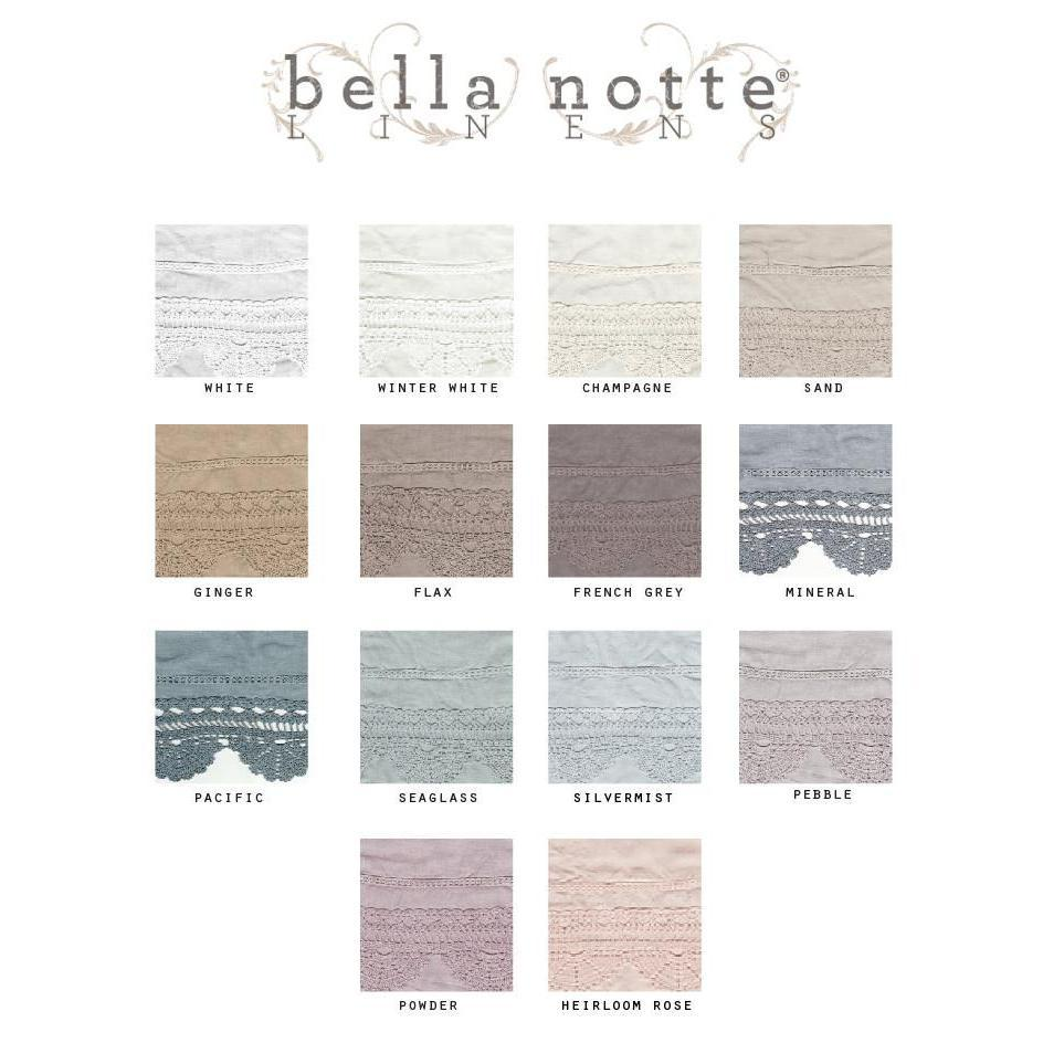 SALE! Bella Notte Linens Linen With Crochet Lace Sham Euro Winter White-Sale-A Cottage in the City