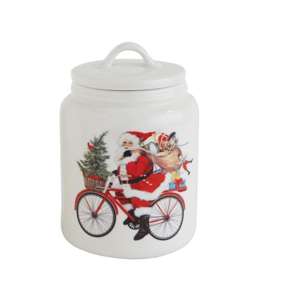 Santa On A Bicycle Ceramic Container-Seasonal-Creative-A Cottage in the City