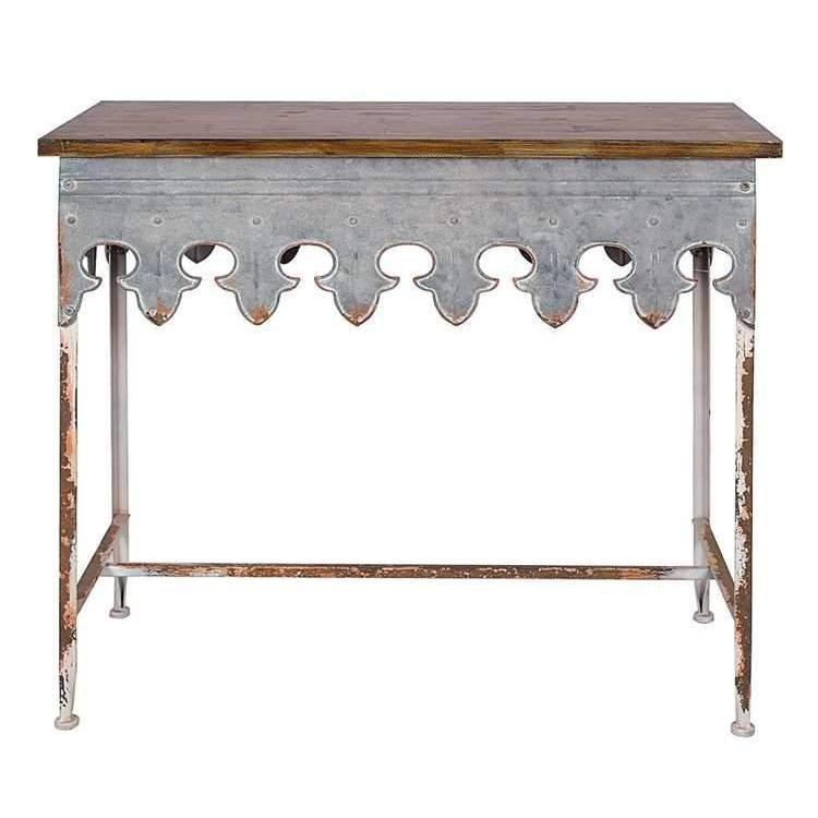 Scalloped Zinc Table-Furniture-A Cottage in the City