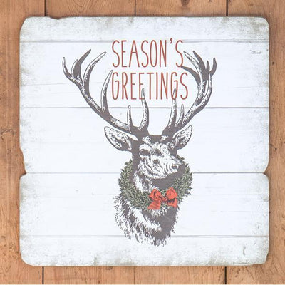 Seasons Greetings Deer Wood Sign