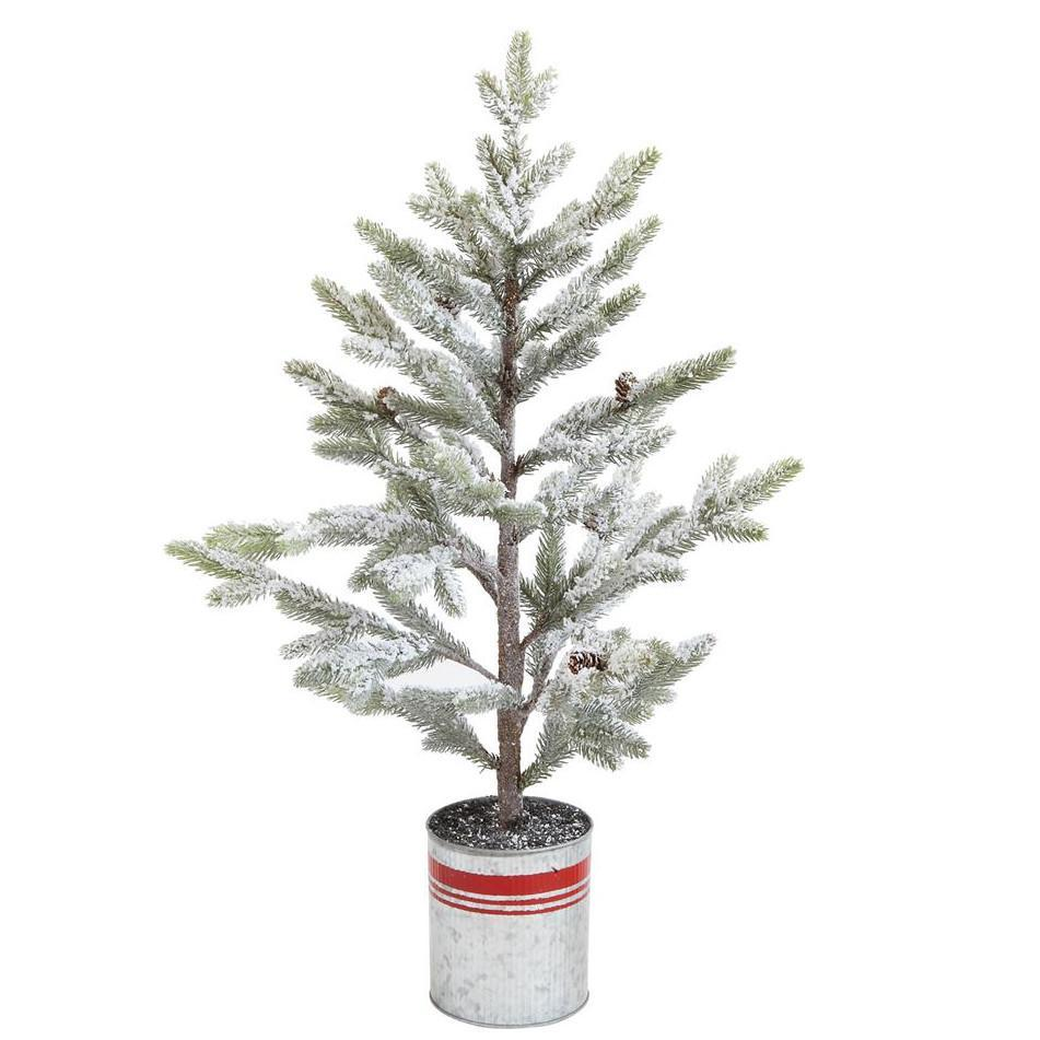 "Snowy Pine Tree In Red Striped Metal Planter-Seasonal-Creative-33""-A Cottage in the City"