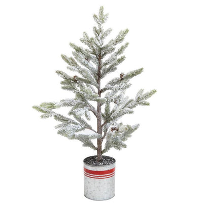 Snowy Pine Tree In Red Striped Metal Planter-Seasonal-Creative-33
