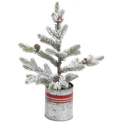 Snowy Pine Tree In Red Striped Metal Planter