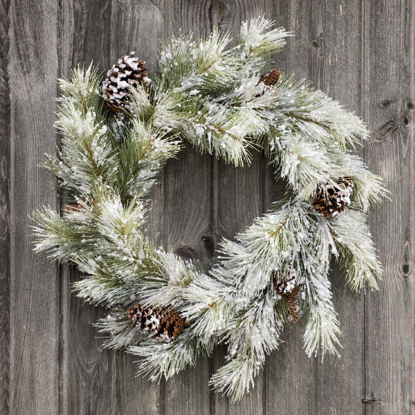 Snowy Pine Wreath With Pine Cones