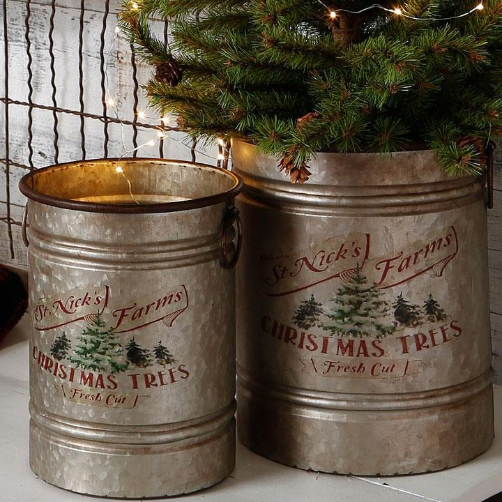 St. Nicks Christmas Trees Galvanized Metal Bucket