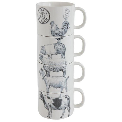 Stacked Farm Animal Mug Set