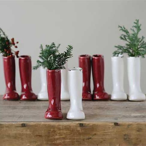 Stoneware Red White Boot Vase