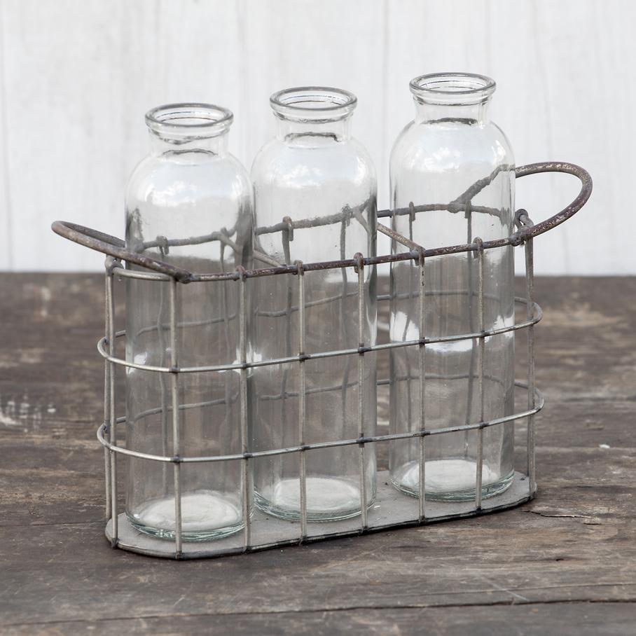 Tall Glass Bottles In Metal Basket-Decor-A Cottage in the City