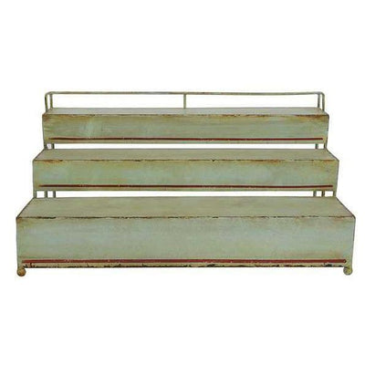 Three Tier Vintage Green Metal Shelf