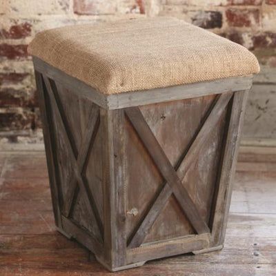 Town & Country Stool With Burlap Seat