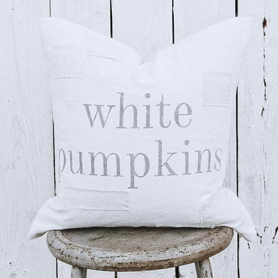 White Pumpkins Patched Pillow