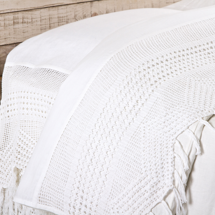 Vintage Crochet Flat Sheet by Pom Pom at Home-Bed & Bath-Queen-White-A Cottage in the City