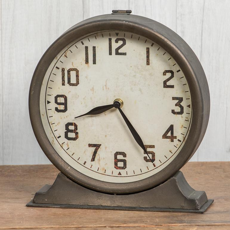 Vintage Industrial Metal Mantel Clock
