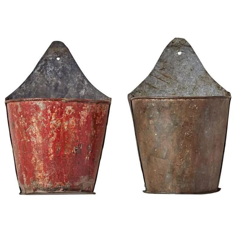 Vintage Metal Wall Half Bucket-Decor-A Cottage in the City