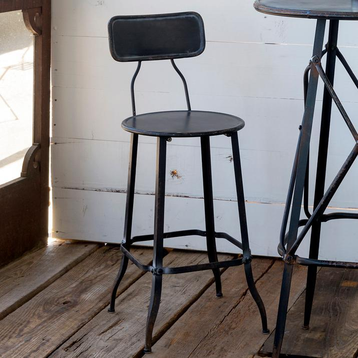 Vintage Style Black Metal Stool-Furniture-A Cottage in the City