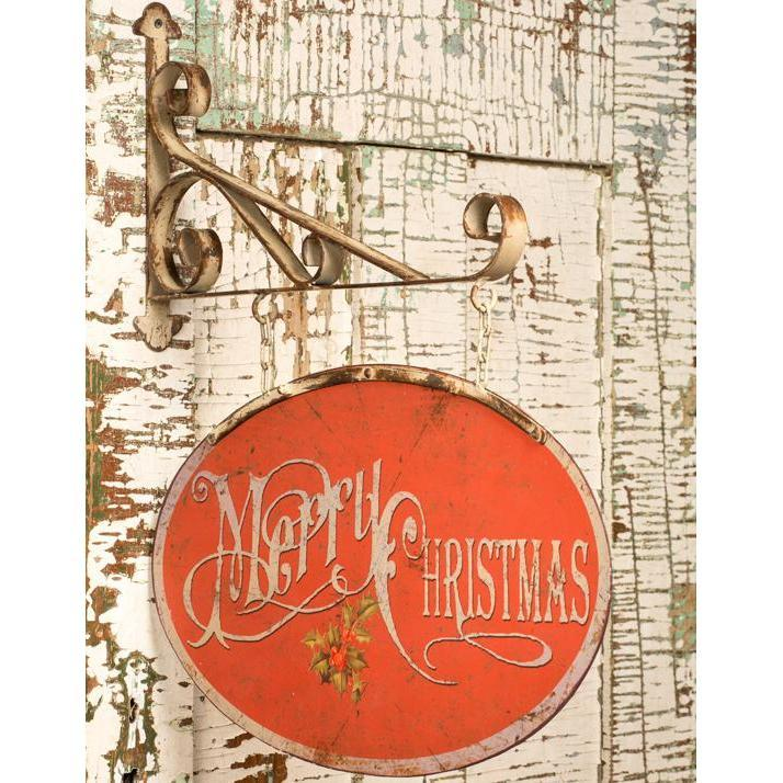 Vintage Style Merry Christmas Hanging Metal Sign-Seasonal-A Cottage in the City