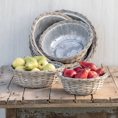 Washed Wicker Basket Metal Tin