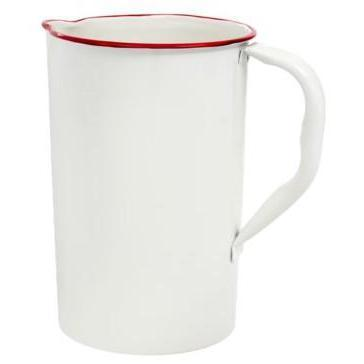 White Enamel Jug With Red Trim