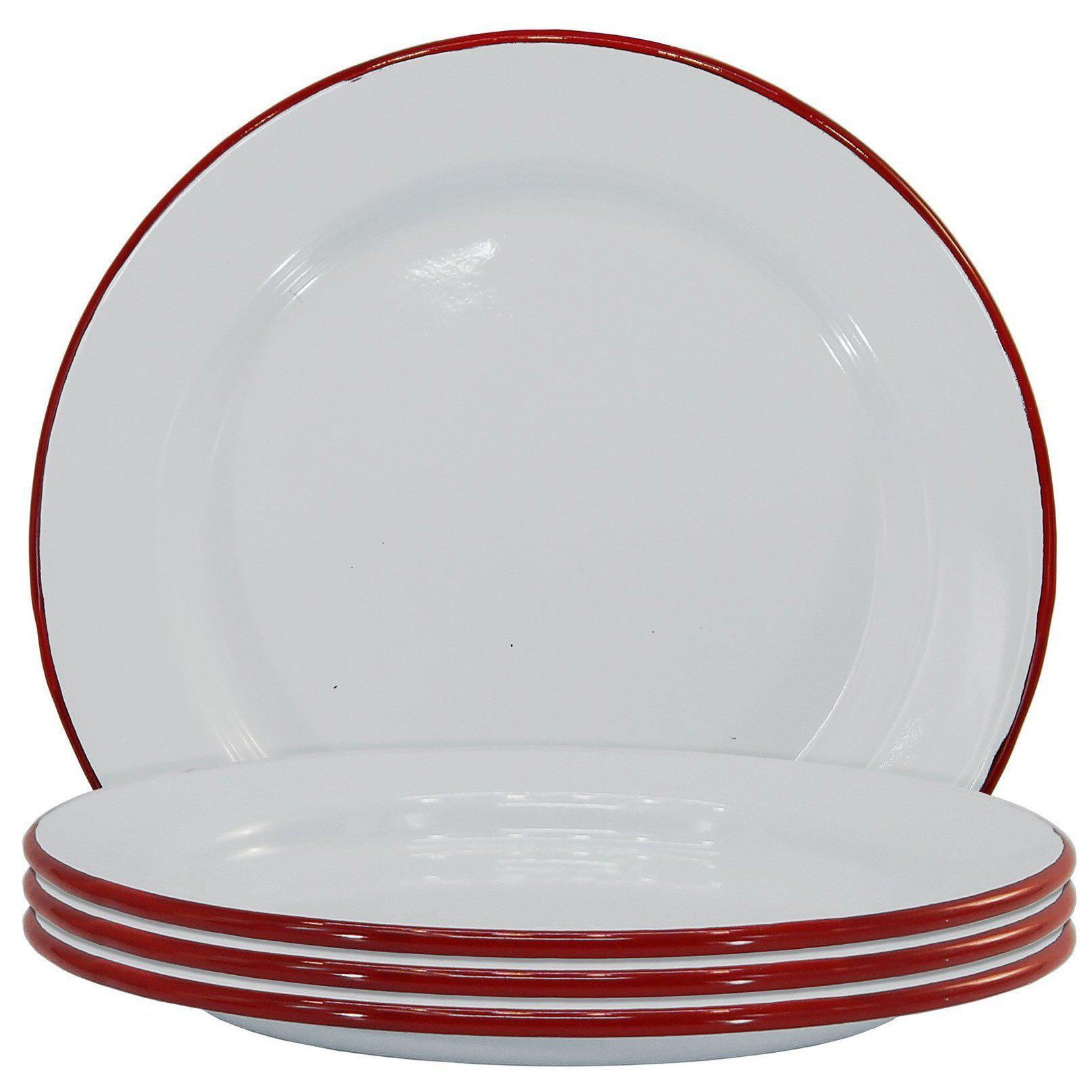 White Enamel With Red Trim Plate Set