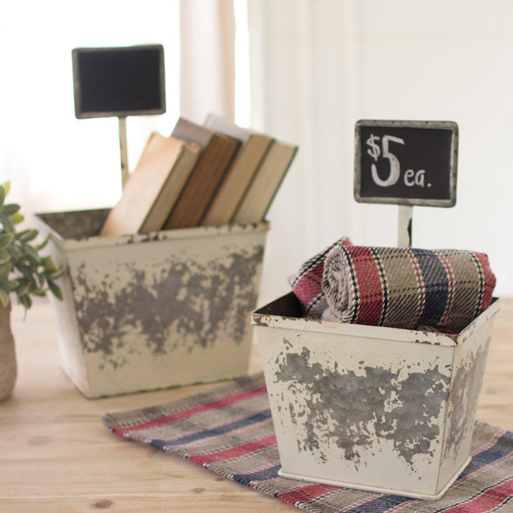 White Galvanized Chalkboard Container-Storage-Small-A Cottage in the City