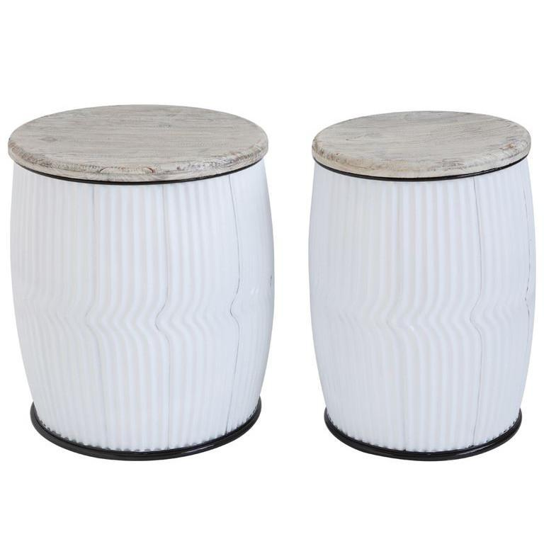 White Metal Barrel Side Table-Furniture-A Cottage in the City