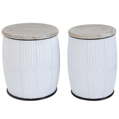 White Metal Barrel Side Table