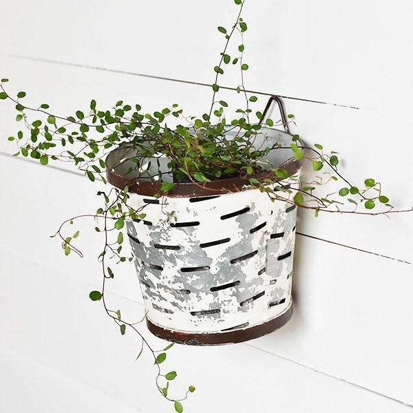 White Metal Olive Bucket-Storage-PD Home-A Cottage in the City