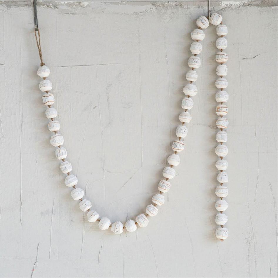 White Wood Bead Garland-Seasonal-A Cottage in the City