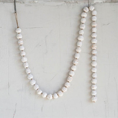 White Wood Bead Garland